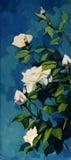 Bush białe róże w noc zmroku - niebieskie niebo ilustracja wektor