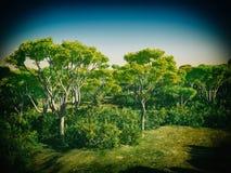 Bush-bomen in het 3d teruggeven van Australië Stock Afbeeldingen