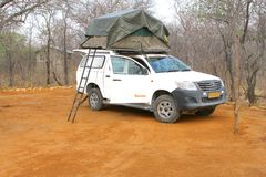 Bush campsite safari car rooftent, Namibia Africa  Royalty Free Stock Photography