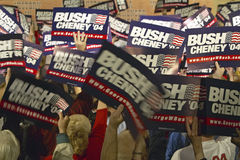 Bush/Cheney signs held by supporters Stock Photos