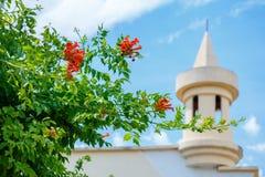Bush de hemel en de minaret, Islam het concept godsdienst royalty-vrije stock afbeeldingen