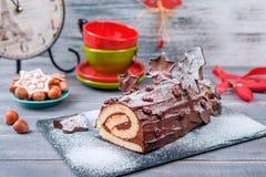 Bush De Noel Boże Narodzenie beli tort Zdjęcia Royalty Free