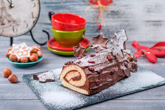 Bush De Noel Christmas Log Cake Photos libres de droits