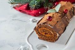 Bush de Noel Christmas Log Cake och för nytt år bakgrund kopiera avstånd royaltyfria bilder