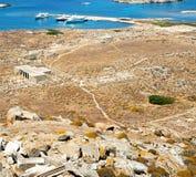 Bush   in delos greece the historycal acropolis and old ruin sit. In delos       greece the historycal acropolis and         old ruin site Stock Images