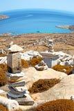 Bush   in delos greece the historycal acropolis and old ruin site. In delos       greece the historycal acropolis and         old ruin site Stock Photography
