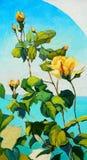 Bush die van witte rozen, door olie op canvas schilderen, Stock Afbeelding