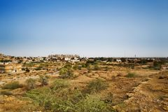 Bush on field with town in background, Jaisalmer, Rajasthan, Ind Royalty Free Stock Photography
