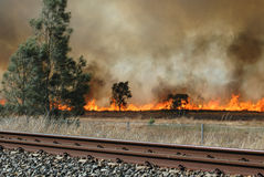 Bush Fire. Image taken of a bush fire that was burning next to the railway line Royalty Free Stock Photography