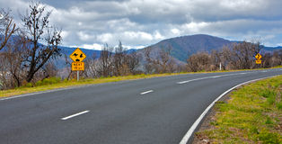 Bush fire area and road trip in Australia Royalty Free Stock Photos