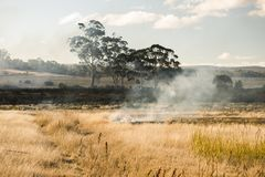 Bush fire in a country town. Royalty Free Stock Photography