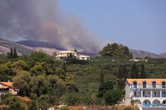 Bush fire greek island of zakynthos Royalty Free Stock Image