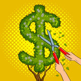 Bush in the form of dollar sign pop art vector Royalty Free Stock Photography