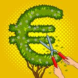 Bush in the form of euro sign pop art vector Royalty Free Stock Photography