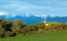 Bush House. House with bush all around it and with a great view of Tararua Ranges, New Zealand Royalty Free Stock Image