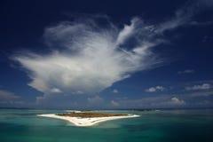 Bush Key. A Cloud bursts over Bush Key, Dry Tortugas National Park Stock Photos