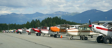 Bush Planes Airport Anchorage Small Airplanes Royalty Free Stock Images