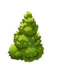 Bush. Tree for cartoon isolated on white background Stock Photos