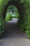 Bush tunnel in a park. Bush tunnel leading to a great variety of plants in a park in England. Shallow depth of field Royalty Free Stock Photos