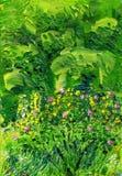 Bush van een dogrose op een achtergrond van groene bomen royalty-vrije illustratie