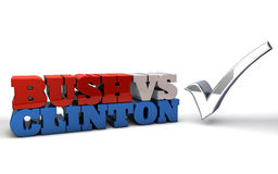 Bush vs Clinton Presidential Election. The words BUSH VS CLINTON rendered in 3D lettering with a large check mark Royalty Free Stock Image