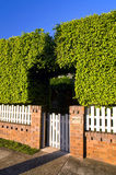 Bush, wooden and bricks fence. House garden with natural bush, bricks and white wooden fence Stock Photos