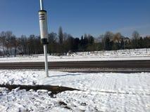 Bushalte. Busstop eijsden oost-maarland catharinastraat snow Stock Images
