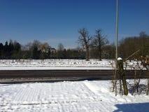 Bushalte. Busstop eijsden oost-maarland catharinastraat snow Royalty Free Stock Images