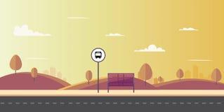 Bushalte van hoofdstraatstad op zonsondergang Leeg ontwerpmalplaatje voor het brandmerken tekens en pictogrammen in vlak ontwerp  Stock Foto's