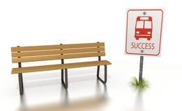 Bushaltebank met een succesteken Stock Afbeelding
