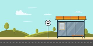 Bushaltestelle auf Hauptstraßenstadt Allgemeiner Park mit Bank und Bushaltestelle mit Himmel vektor abbildung