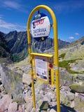Bushaltestelle in den Bergen - hohes Tatras, Rysy, Slowakei Stockbild