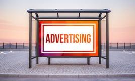 Bushaltestelle mit großer horizontaler Anzeige vektor abbildung