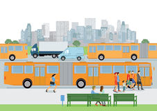 Bushaltestelle mit Passagieren Stockbild
