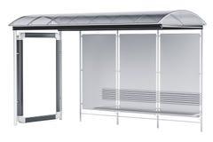 Bushaltestelle mit Werbetafel, Wiedergabe 3D lizenzfreie abbildung