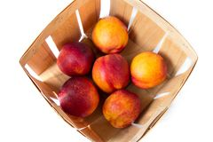 A bushel basket full of fresh picked yellow peaches, view from above Stock Image