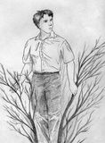 Through the bushes. Young man going through the bushes searching for smth. Pencil drawing, sketch Stock Photos