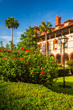 Bushes and building at Flagler College, in St. Augustine, Florid Stock Images