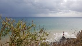 Bushes in the foreground behind sea with lighthouse. In the foreground is a bush and some visitors on the limestone rocks the sisters seven sixty meters down a stock image
