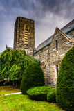 Bushes and an old church in Hanover, Pennsylvania. Royalty Free Stock Image
