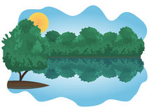Bushes over lake. Wonderful illustration of forest lake with bushes on the bank and the single tree on the island Stock Images