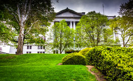 Bushes and trees in front of the State Capitol in Harrisburg Stock Photography