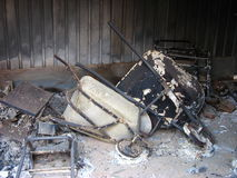 After the bushfire. Contents of a shed that was burned in a bushfire Stock Image