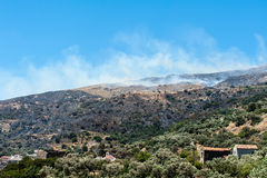 Bushfire on Crete Royalty Free Stock Photos