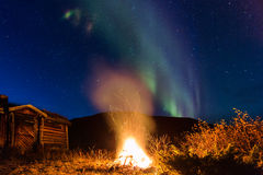 Bushfire and northern lights Stock Photography
