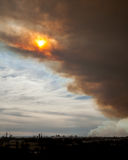 Bushfirerök och sol över Parramatta Fotografering för Bildbyråer