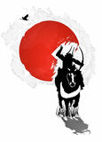 Bushido - Horseman Samurai on the background Japanese flag Royalty Free Stock Photo