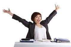Bushinesswoman celebrating of victory Royalty Free Stock Image