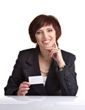 Bushinesswoman showing white card Royalty Free Stock Images