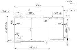 Bushing sketch. Engineering drawing Royalty Free Stock Photo